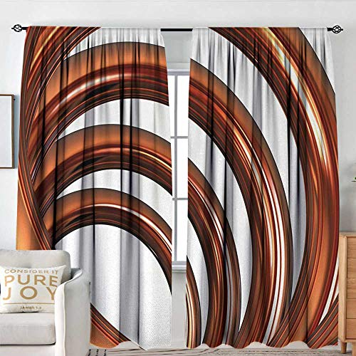 NUOMANAN Pattern Curtains Abstract,Helix Coil Curved Spiral Pipe Swirled Shape on White Backdrop Print,Dark Orange and White,Rod Pocket Curtain Panels for Bedroom & Kitchen 120'x96'