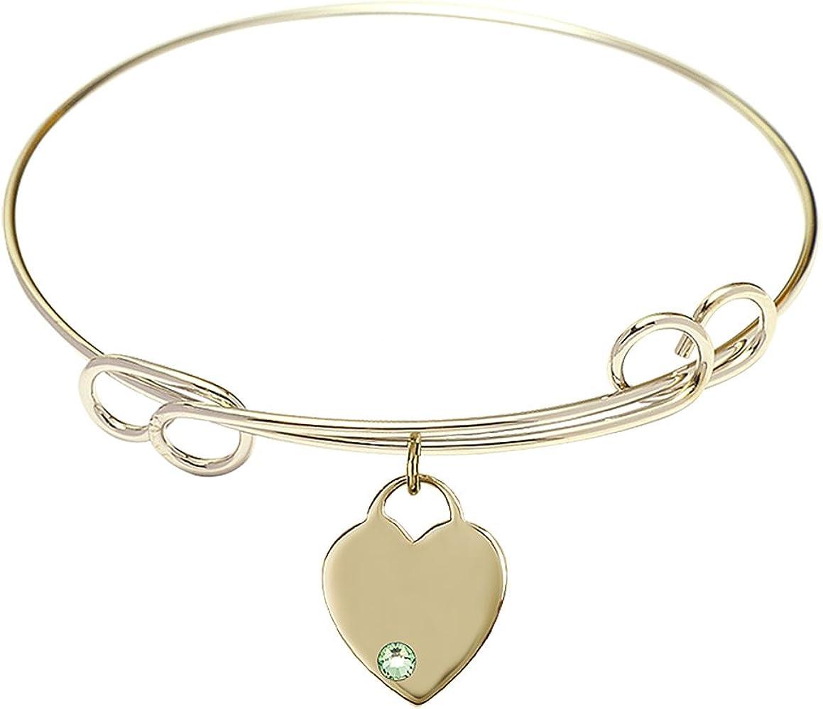 DiamondJewelryNY Double Loop Bangle Bracelet with a Heart Charm.