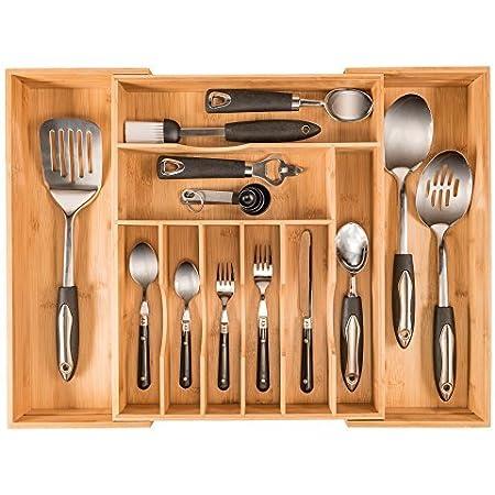 palillos cuchillos gris bandeja organizadora para tienda Organizador de bandejas para cubiertos mesa cubiertos divisores de cajones de cocina de 2 capas tenedores