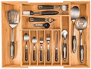 More Compartments, Organic Bamboo Utensil Organizer, Silverware Organizer & Cutlery Tray for Your Kitchen Drawer Organize...