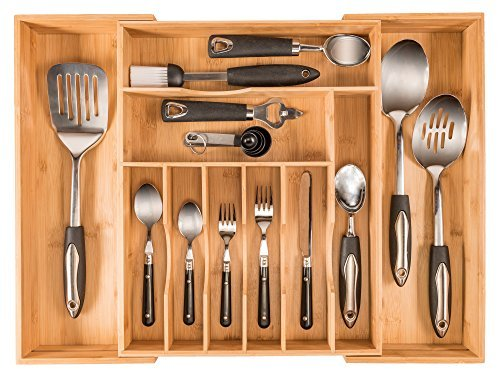 More Compartments Organic Bamboo Utensil Organizer Silverware Organizer Cutlery Tray for Your Kitchen Drawer Organizer Expandable Flatware Utensil Tray Has 10 Compartments fits a 12 PC setting