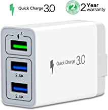 DAJU Quick Charger Wall Adapter Fast Adaptive Charging QC 3.0 USB with Travel 3-Port iPhone Xs,Max,XR,8,7 iPad Pro/Air 2/Mini 3/4 Samsung S8/S7, Galaxy S9 S8 Note 8 More Smart Phone (1 Pack)