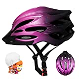 Bike Helmet Adult, Cycle Bicycle Helmets ladies, Adjustable 56-62cm, Insect Net, Detachable Visior, Lightweight 22 Vents Mountain & Road Cycling MTB Helmet for Mens Womens Teenagers (Gradient Purple)