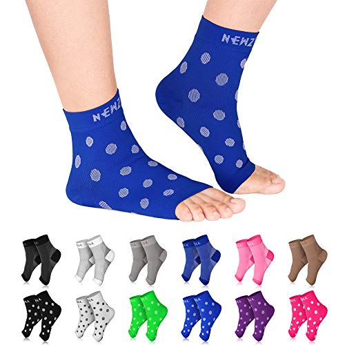 NEWZILL Plantar Fasciitis Socks with Arch Support, Best 24/7 Foot Care Compression Sleeve, Eases Swelling & Heel Spurs, Ankle Brace Support, Increases Circulation (S/M, Blue w White Dots)