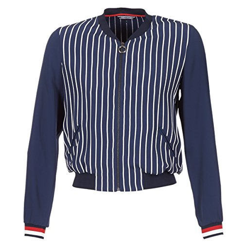 Tommy Hilfiger NALOME Global Bomber LS Chaqueta, Azul (Hollie STP Peacoat 424), 34 (Talla del Fabricante: 4) para Mujer