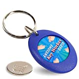 Porte-clés personnalisé personnalisable avec n'importe quel nom - Cadeau essentiel pour les activités sociales - Cadeau de qualité supérieure - Forme ronde - Avec pièce de chariot, bleu, m