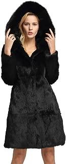 Fur Story Women's Genuine Rabbit Fur Coat for Winter Warm Fur Jacket
