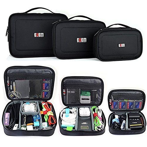 BUBM 3 in 1 Travel Electronic Organizer Gadgets Electronics Accessories Storage Bag for Memory Card USB Battery Power Bank Flash Hard Drive Safe Space Cord Organizer