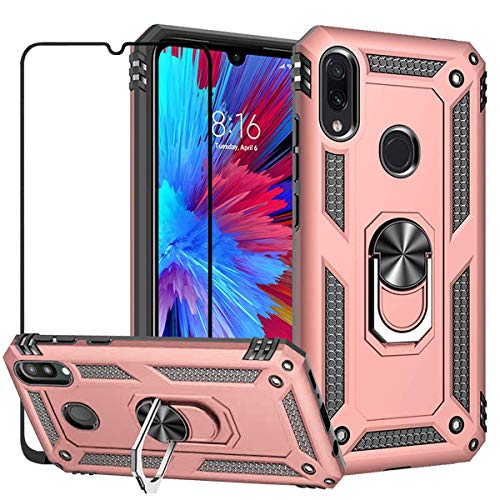 EBESTAR Xiaomi Redmi Note 7 / Redmi Note 7 Pro Case, Hybrid Armor Heavy Duty Shockproof Defender Protective Cover Stand Ring Magnetic Ring Holder Case with Tempered Glass Screen Protector, Rose Gold