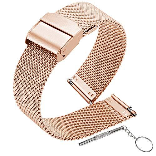 Gurxi Correa Reloj 20mm Metalica Correa de Malla de Liberación Rápida Correa para Reloj Inteligente Mujer Compatible con Destornillador para Hombres y Mujeres Pulsera de Repuesto (Oro Rosa)
