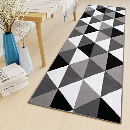 Tapiso Bali Teppich Läufer Flur Brücke Kurzflor Modern Grau Schwarz Weiß Geometrisch Dreiecke Design Korridor Schlafzimmer ÖKOTEX 80 x 150 cm