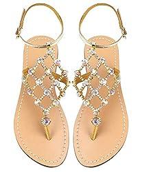 Gold-1 Gladiator Cross Tie Flat Sandals