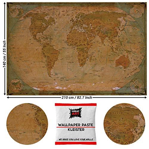 GREAT ART fotobehang retro wereldkaart 210 x 140 cm - 210 x 140 cm - 5 Teile + Kleister Alte Weltkarte