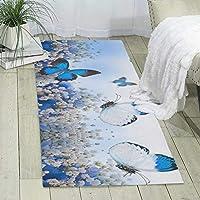蝶カーペットの塗装と印刷、大きくてモダンな模様のふわふわの床カーペット、柔らかなインテリア、寝室、オフィス、リビングルーム、お手入れが簡単、180cm X 60cm * 6mm