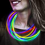 Lumistick 22 Inch Glow Stick Necklaces   Non-Toxic & Kids Safe Light Up Neckwear   Bendable Sticks with Connectors   Glows in The Dark Night Party Favor (Color Assortment, 50 Necklaces)