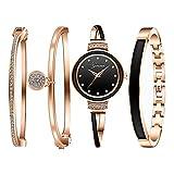 Clastyle Conjunto Relojes Mujer Oro Rosa Reloj Pulsera Mujeres Cerámica Moda con 3 Brazaletes Diamante de Imitación, Negro