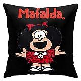 Jupsero Mafalda con camisón recién levantado y despeinado Quino Argentina Funda de Almohada de Dibujos Animados Funda de Almohada Cuadrada Suave Funda de Almohada Decoración del hogar para s
