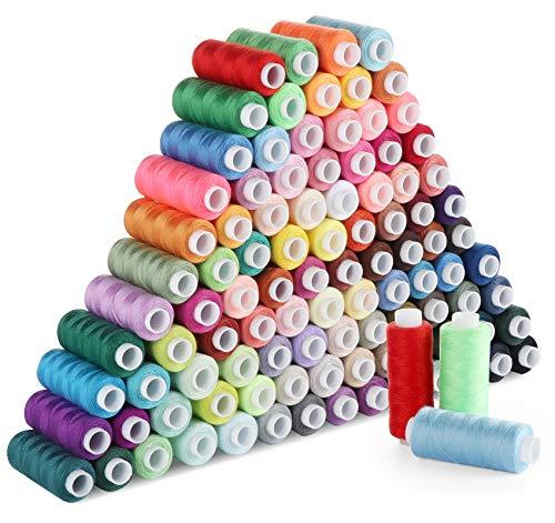 ilauke Boîte de 100 Couleurs de Fils à Coudre en Polyester de Fil à Coudre Kit Avec Premium Couture Accessoires pour Machines à Coudre et Manuelles ( 250 Yard/Bobines)