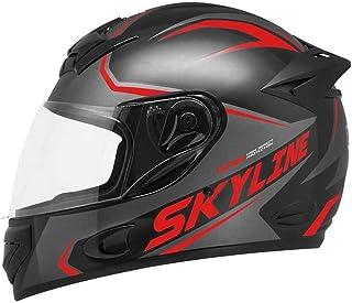 Capacete Moto MX2 Skyline Preto com vermelho Brilhante 62