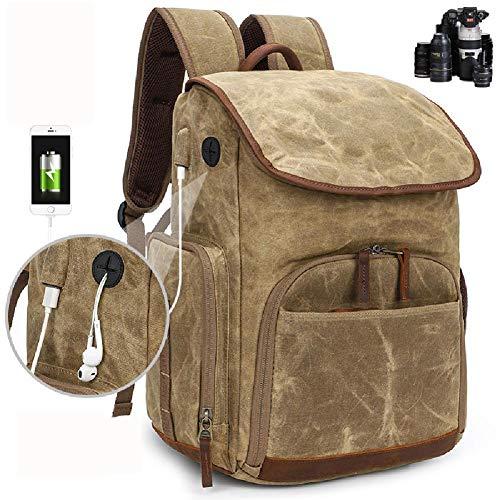 MKLI Kamera-Rucksack, DSLR-Tasche, Passend für 15-Zoll-Laptop, Rück Zugang, Dehnbare Seitentasche für Reise Stativ für DSLR/Mirrorless/CSC und Standard-Objektive,Khaki