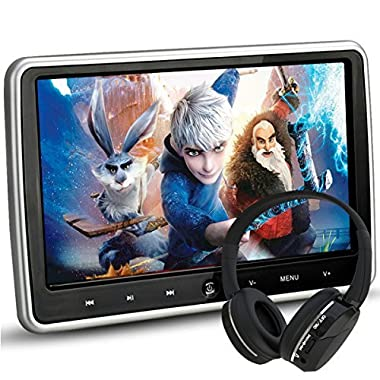 NOAUKA 10.1  Ultra Thin Portable Digital HD TFT LCD Headrest DVD Player Car Multimedia Wide Screen Display Player Headrest Monitor HDMI Remote Control IR Headphone