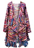 Truly Me, Big Girl's Long Sleeve Multicolor Fashion Sweater Knit Cardigan in Sweater Knit with Fringe Detail, Pockets, and Mismatched Buttons, Size 7-16 (Brown Multi, 12)