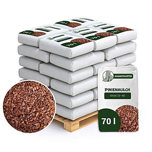 MammutGarten Pinienmulch Pinie Rinde Garten Mittel 25-40 mm 70l Sack x 36 STK (2520 L)