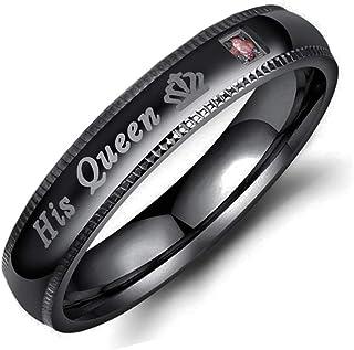 خاتم للجنسين من الفولاذ المقاوم للصدأ للرجال والنساء زوجين خواتم مع زيركون في المقاس 4-13