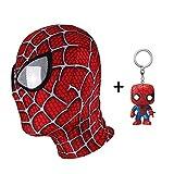 スパイダーマンマスク仮装大人コスプレヘッドヘルメットハロウィンアクセサリーパーティーフェイスギフトユニバーサルサイズ+ PVCキーリング,B