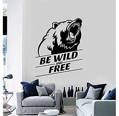 CQAZX Wandaufkleber Vinyl wandtattoos wild und frei grizzly kopf tier aufkleber wandbilder wohnkultur wohnzimmer wand mode aufkleber 57x72cm