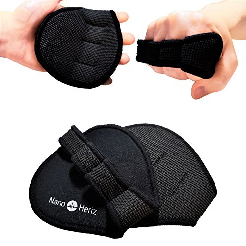 Best Workout Gloves Alternative | Weight-Lifting Gym Training Anti-Slip Barehand Alpha Grip Pads | Support Power-Lifting, Body-Building, Fitness for Men & Women (Black, M)