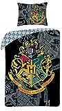 HARRY POTTER Stemma Scuola HOGWARTS Set Letto COPRIPIUMINO Federa 140x200cm COTONE Reversibile ORIGINALE Ufficiale Warner Bros