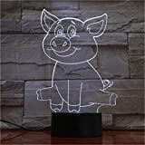Cochon Mignon 3D LED Lampe Lampe de Table LED USB capteur Nuit lumière Sculpture...