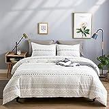 WARMDERN Grey Stripe Boho Duvet Cover Set Queen, 3pcs Ultra Soft Breathable Aztec Cotton Comforter Cover with Zipper Ties, 1 Bohemian White Duvet Cover & 2 Pillowcase(Queen,Grey)