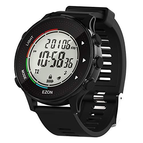 EZON Digitale Sportuhr mit Herzfrequenzmesser Schrittzähler Kalorienzähler Stoppuhr Countdown-Timer 50M Wasserdicht (Gewöhnlicher Sensor)