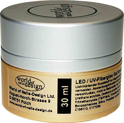 Premium LED/UV-Gel Fiberglas rosa milchig dickviskose 30 ml, Aufbaugel, 1Phasen
