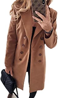 Macondoo Women's Woolen Thicken Lapel Winter Double Breasted Trench Pea Coat