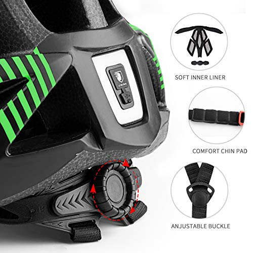 Youth Bike Helmet with LED Light, Adjustable Bicycle Helmet Lightweight Youth Helmet with Detachable Visor for Kids Boys and Girls, 54-57CM - Black Green