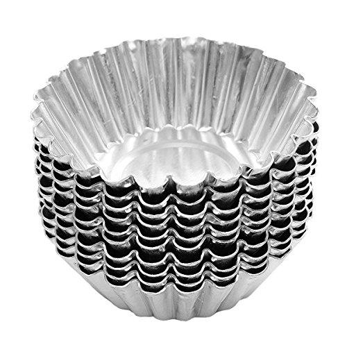 Lot de 25 7 cm en papier d'aluminium moule à tarte boîtiers les cupcakes muffin Pudding moule à tarte en forme d'œuf Poêles Assiettes