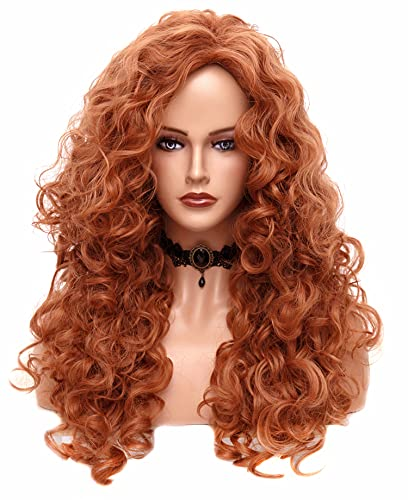 Rugelyss Long Wavy Wigs 28 Inches Natural Copper Fox Red Synthetic Kinky Curly Hair Wig for Women
