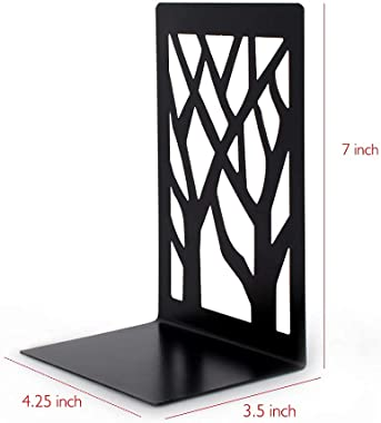 Metal Bookends-Heavy Book Ends for Shelves,Book Shelf Holder Home Decorative,Black Bookend Supports (2)