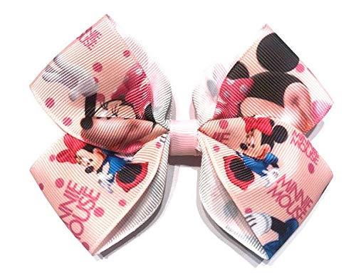 Pinces à cheveux avec nœuds Disney Minnie pour fille (différentes couleurs) rose