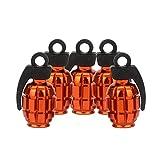 Senzeal 5X Aluminum Grenade Universal Car Truck Motocycle Wheel Tyre Valve Caps Bike Tire Cover Orange