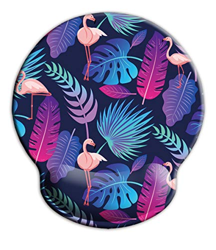 Ergonomic Mouse Pad with Wrist Support,iKammo Round Cute Memory Foam Non Slip Gel Wrist Rest Mouse Pad for Gaming,Working,Office & Home (Color 18)
