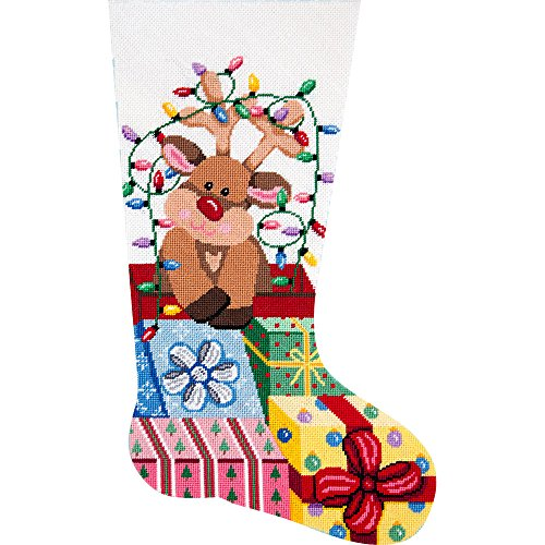 Alice Peterson Home Creations Holiday Edition Needlepoint Stocking Kit- Gift Wrapped Reindeer - Large, Deluxe Size