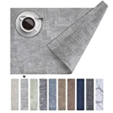 """Homaxy Faux Leather Heat Resistant Placemats for Dining Table Set of 6, Waterproof Wipeable Washable PU Table Mats, Easy to Clean Anti-Slip Place Mats, 11.8"""" x 17"""", Light Grey"""