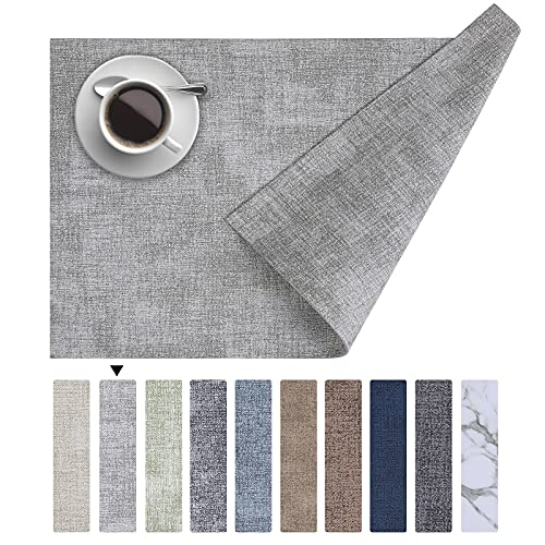 Homaxy Faux Leather Heat Resistant Placemats for Dining Table Set of 6, Waterproof Wipeable Washable PU Table Mats, Easy to Clean Anti-Slip Place Mats, 11.8' x 17', Light Grey