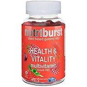 NUTRIBURST | Multivitamins Health & Vitality Gummy Vitamin C B5 B6 B12, D | Plant Based, Sugar Free Supplement | 60s Gummies 1 Month Supply | Healthy Nutrition Suitable for Vegetarians and Vegans
