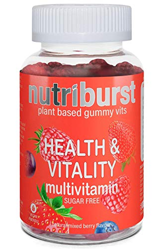NUTRIBURST | Multivitamins Health & Vitality Gummy Vitamin C B5 B6 B12, D | Plant Based, Sugar Free Supplement | 60s Gummies 1 Month Supply | Healthy Nutrition Suitable for Vegetarians and Vegans