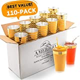 110 Elegant Gold Rimmed Clear Plastic Cups - 12 oz Disposable Plastic Tumblers - Hard Solo Cups for...